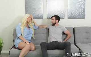Fucking surprising housewife Alura Jenson gives a blowjob and boobjob