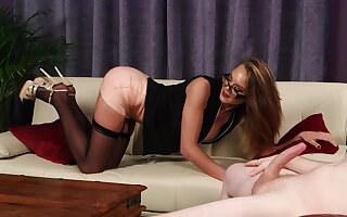 Classy MILF rubs pussy dimension horny chap jerks off for say no to
