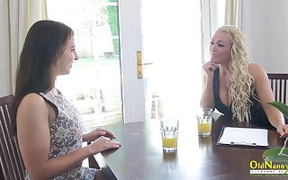 OldNannY Swank Lesbian Interview together with Breast Massage