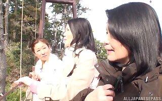 Lesbo amateurs immigrant Japan enjoy having lovemaking at hand the bathroom