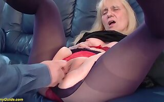 Unsightly saggy tit 85 years age-old granny gets first time rough and abyss doggystyle anal fucked