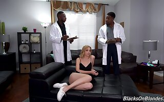 Teen blacked in merciless threesome