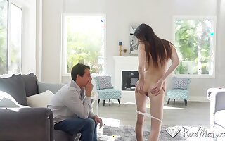 Neat MILF Angelina Diamanti wants to fuck a young man and she is so horny