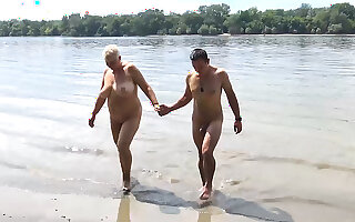 Extreme sexy chubby big natural breast grandma gets rough public beach fucked