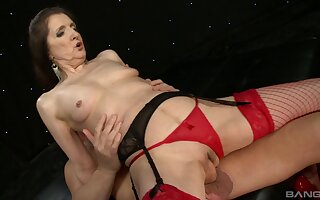 Granny Gilly Sampson in red stockings and lingerie loves to ride a dick