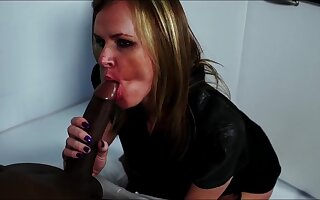 Summer Rose sucks a large black dick and gets fucked from behind