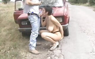 Serbian brunette fucked on the hood of a car
