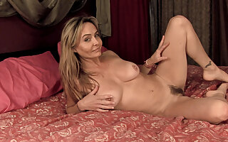 After dancing, Sarah Michaels gets naked in bed - Compilation - WeAreHairy