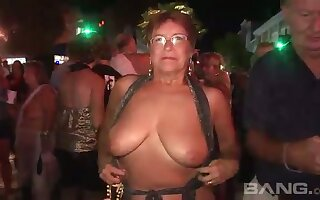 These mature women love to flash wide public and they've got big natural tits