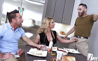 New dad's go steady with Phoenix Marie gives a blowjob during American anthem
