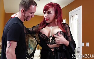 Sexy curvaceous redhead Sexy Vanessa is into sucking appetizing cock dry